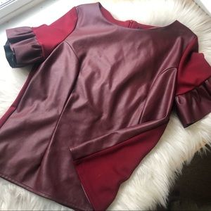 Gracia faux leather red bell sleeve holiday top